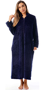 zip front lounger robe for women duster housecoat pajama loungewear