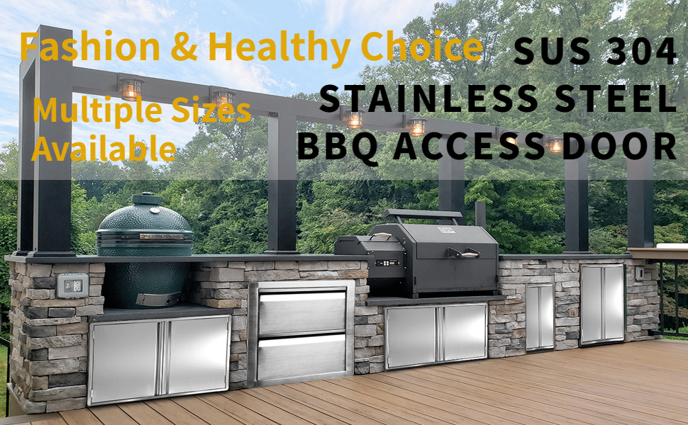 Minneer Outdoor Kitchen Door 17x24 Inch Double Wall Bbq Access Door 304 All Brushed Stainless Steel Double Bbq Door For Bbq Island Outside Cabinet Barbecue Grill Outdoor Kitchen