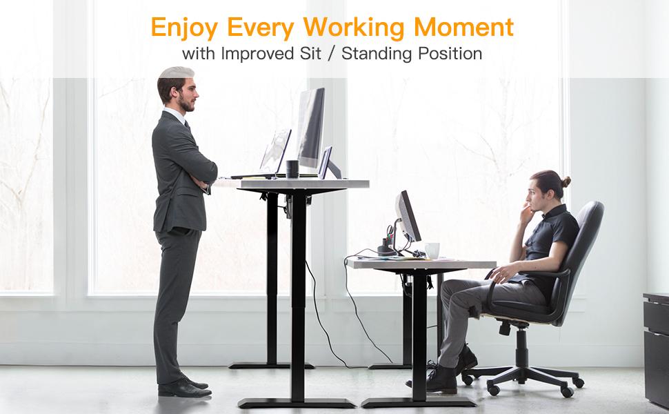 adjustable electric sit and standing desk base frame legs