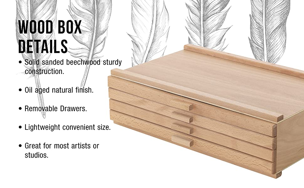 U.S. Art Supply 4 Drawer Wood Artist Storage Box