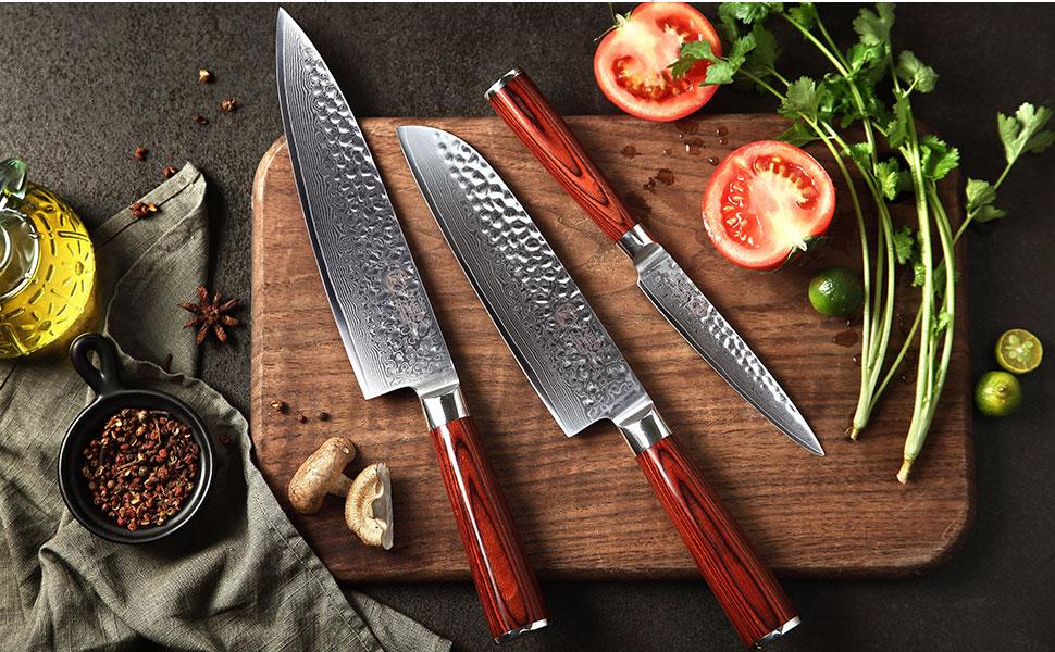 chef knife set damascus