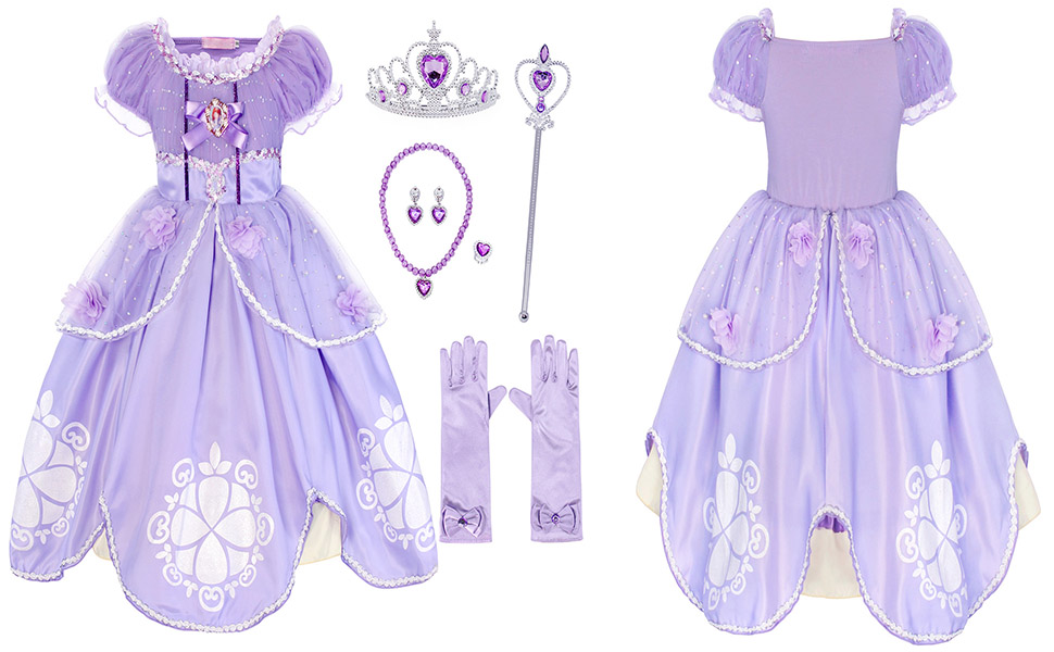 Girls Princess Purple Cosplay Fancy Party Dress Costume Long Jewelry Accessories HB006+P002-1