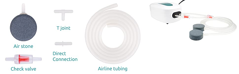 accessories air stone airline tubing T joint direct connection check valve