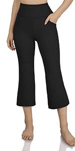 Boot-cut yoga pants with slant pocket