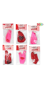 30 Pack Valentines Day Gift Cards with Gift Punch Ball Balloon Set