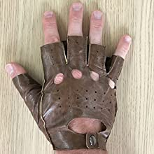 faux leather brown fingerless glove for right hand