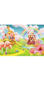 Candy World Photography Backdrops Rainbow Lollipop For Party Photo Background