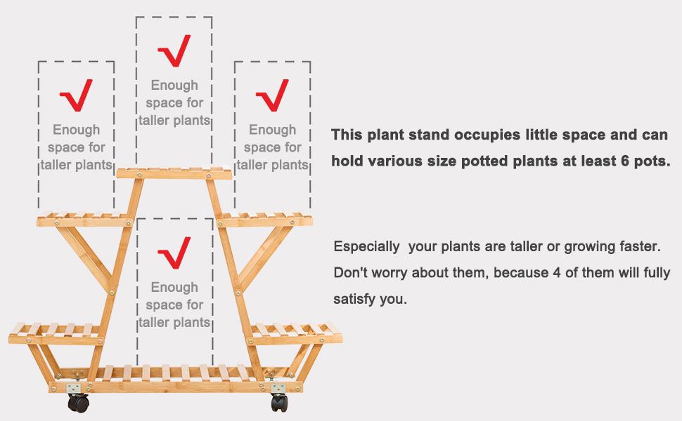 Bamboo Rolling 6 Tier Plant Stand Rack Multiple Flower Pot Holder Shelf