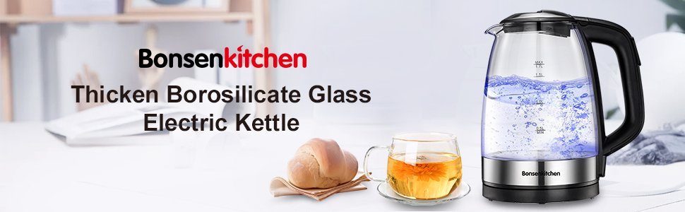 Bonsenkitchen Thickened Borosilicate Glass Electric Kettle
