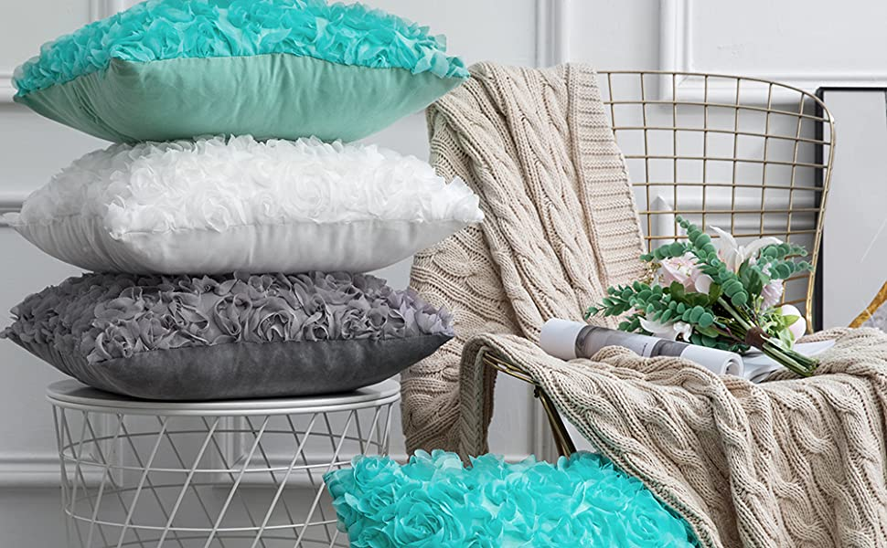white black teal turquoise throw pillow cover accent decor