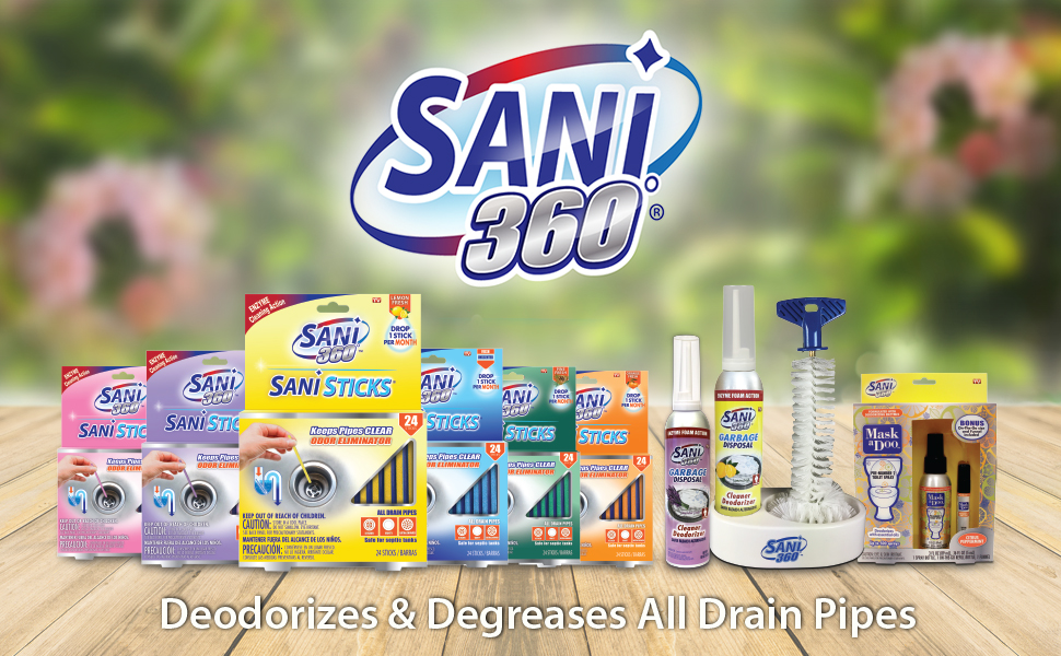 Shows all the brand products for Sani Sticks & Garbage Disposal Cleaner behind a blurred background.