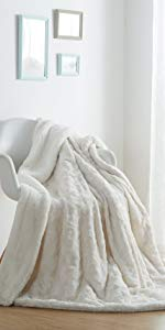solid snowy white luxury roses throw blanket faux fur sherpa fleece super soft cozy warm winter time
