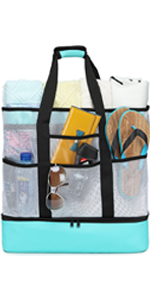 mesh beach tote bag with cooler