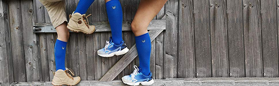 Ski socks blue tundra wolf lifestyle for kids and adults