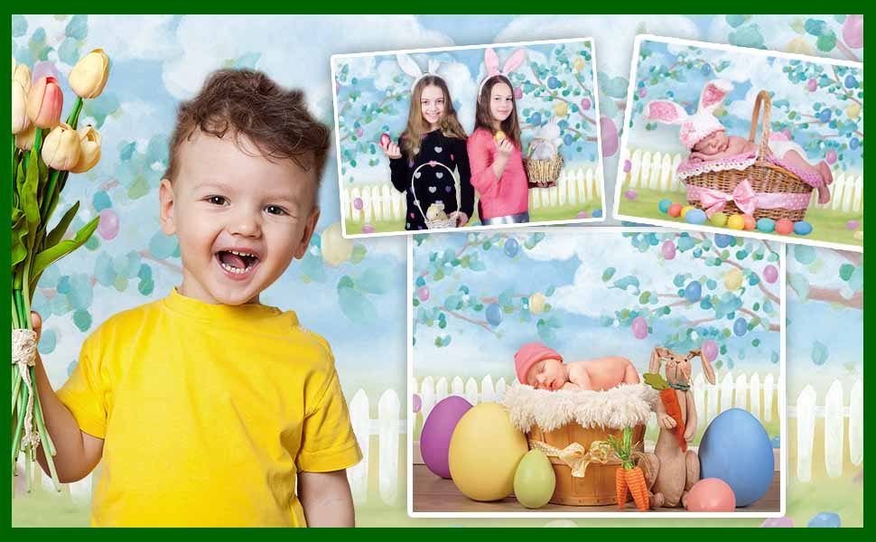 Funnytree 7x5FT Soft Fabric Spring Easter Photography Backdrop Tree Eggs Fence Garden Background