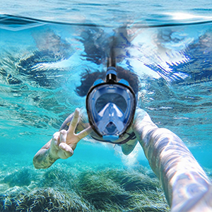 The Most Efficient Upgraded Safety Breathing System Anti-Leak Dry Top 180 Degree Panoramic View Snorkeling Mask with Detachable Camera Mount TINMIU Full Face Snorkel Mask Anti-Fogging