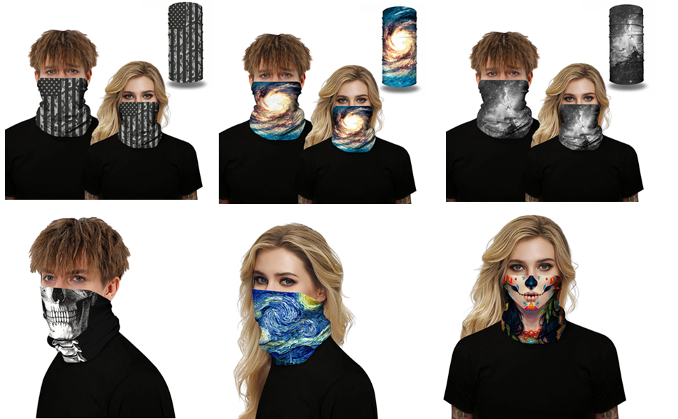 Bandana 6PCS Face Scarf Bandanas Seamless Balaclava Neck Gaiter Women Men