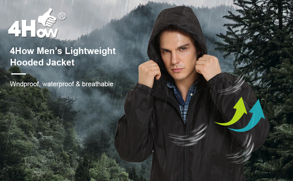 4How Men's Lightweight Hooded Jacket