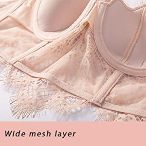 wide mesh layer with delicate lace pattern breathable can be worn all day long