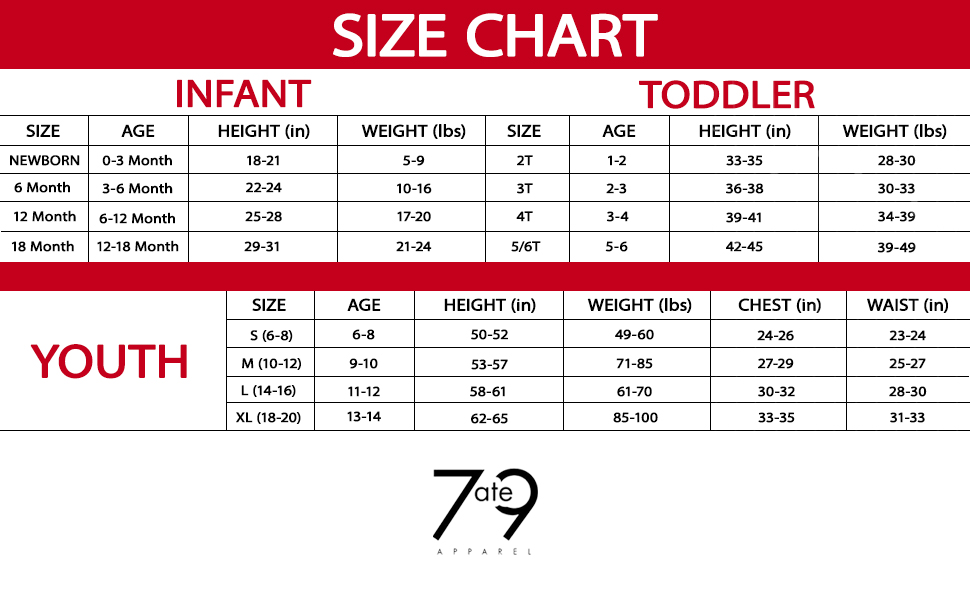 7 ate 9 Apparel Valentine's Day Shirts for Kids size chart