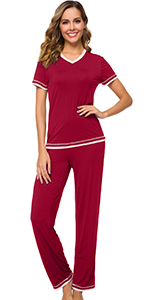 WiWi Women Bamboo Comfy Pajama Set Short Sleeve Sleepwear