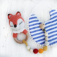 orange fox teether toy baby toys teething ring with pacifier clip crochet fox teether ring natural