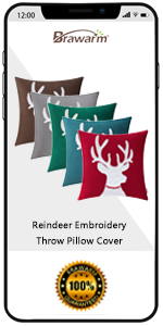 Reindeer Throw Pillow Cover