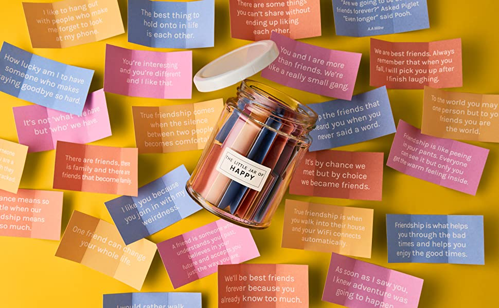 The Little Calm And Happy Company Happy Friendship Quotes Jar 30 Notes Fun Inspirational Motivational Messages Cute Colorful Paper Slip Notes Incl Gift Box