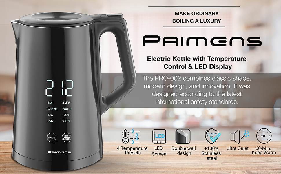 electric kettle with temperature control variable temperature electric kettle keep warm LED display