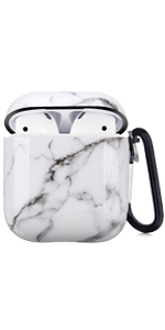 airpods case white marble