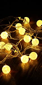 16.4ft 20 Crystal Balls Battery Operated LED String Lights