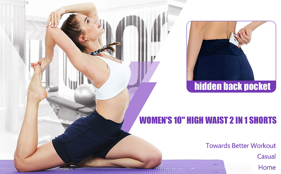 High Waist Breathable 2-in-1 Running Yoga shorts