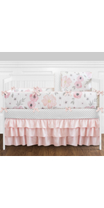 9 pc. Blush Pink, Grey and White Shabby Chic Watercolor Floral Baby Girl Crib Bedding Set