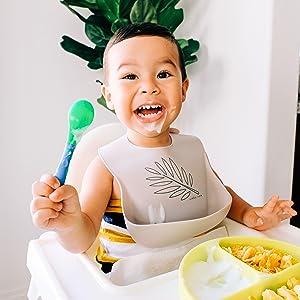 simka rose silicone bib leaf print baby bib toddler feeding bib solid color bucket pouch bib