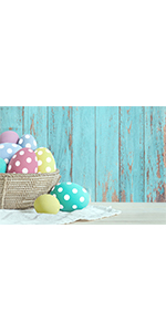Spring Easter Eggs Photo Backdrop Blue Wood Fence 7x5ft Vinyl Photography Banner