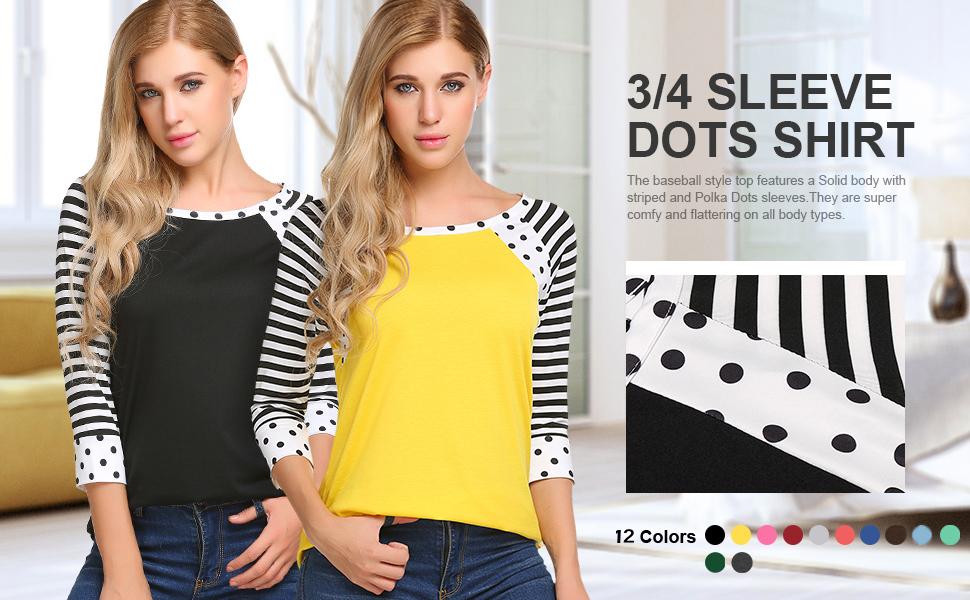 polka dot tops 3/4 sleeve shirts for women