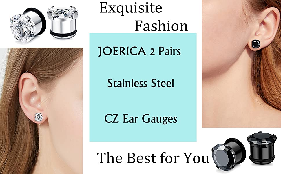 1 Pair 6 Style Choice Earring Gauges Ear Plugs Tunnels