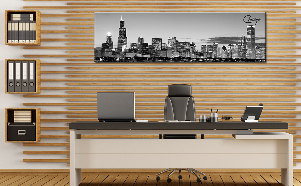 Chicago skyline canvas wall art cityscape picture bedroom office paintings black white decoration