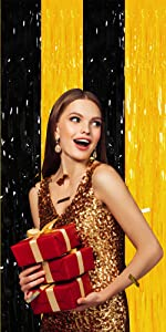 Black and gold foil fring curtain for Christmas xmas party Happy New Year