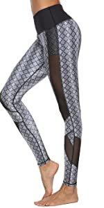 Printed Pants with Mesh Panel or Ruched Waistband