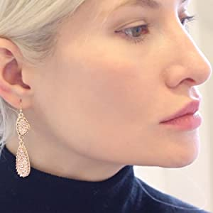 Humble Chic Simulated Druzy Drop Dangles - Gold-Tone Long Double Teardrop Dangly Earrings for Women