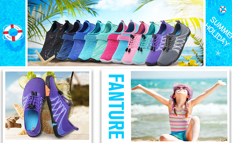 FANTURE Girls & Boys Water Shoes Lightweight Comfort Sole Easy Walking Athletic Slip on Aqua Sock