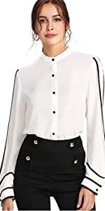 Elegant ButtB07G2C3YQCon Workwear Shirt Stand Collar Long Sleeve Blouse