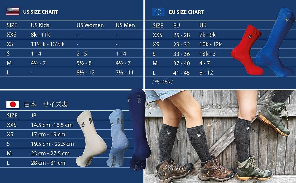 Ski socks knee-length socks over the calf socks size chart tundra wolf team magnus wool socks