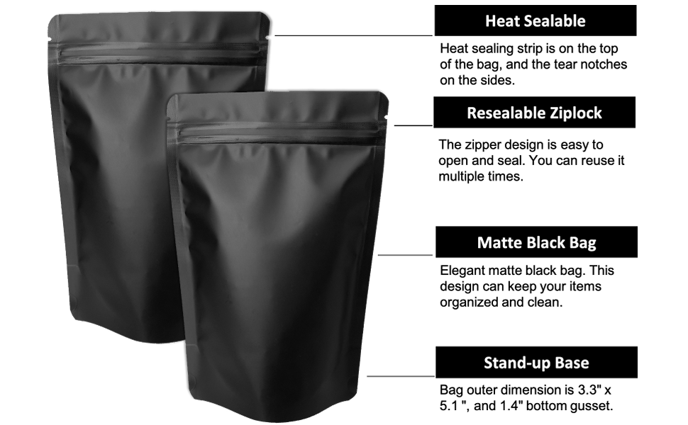 100 pack mylar stand up bags - 3.3x5.1 inches - small resealable ziplock bags sealable foil bags