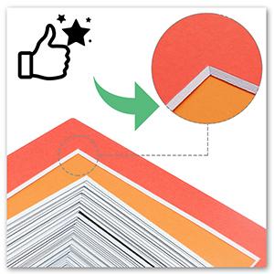 red orange mat color pre cut 4 ply thick white core acid free color mattes