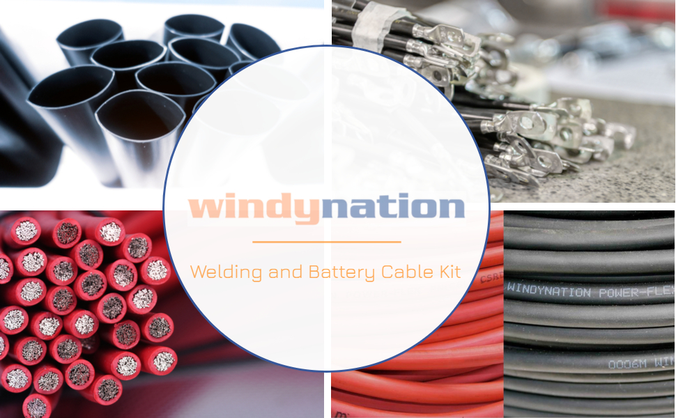 welding battery cable kit lugs heat shrink black red cable