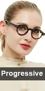 round Progressive Multifocus Women reading glasses