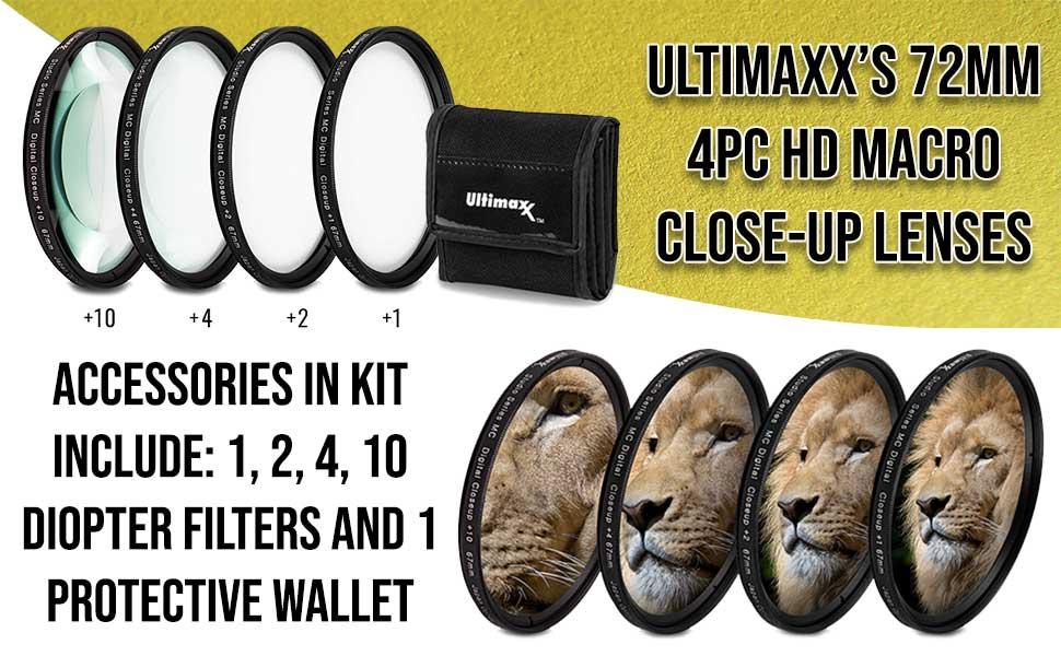 ultimaxx 72mm macro close up filter set