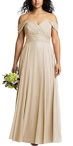 Women's Off The Shoulder Bodice Bridesmaid Dresses Long Prom Gown Wedding Guest